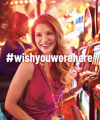 "woman at slot machine with text ""#WishYouWereHere"""