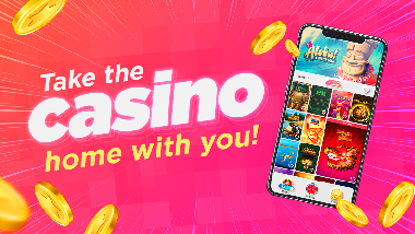 "red background with smart phone showing slots app and text ""HollywoodCasino.com always open"""